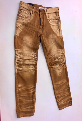 Gold Twill Plwated Jeans