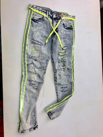 Lime Reflected Strip Jeans