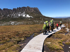 Family of six walking on boardwalk with Cradle Mountain in the background