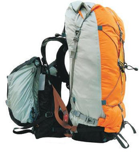 Side view of older model Aarn Natural Balance hiking pack with front pockets