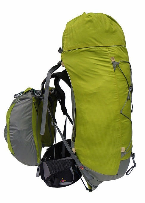 Side view of Aarn Natural Balance Hiking Pack with front pockets