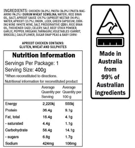 Campers Pantry Apricot Chicken Meal nutritional information and ingredients