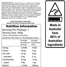 Load image into Gallery viewer, Campers Pantry Lamb Casserole nutritional information