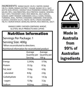 Campers Pantry Mango Chicken Curry Meal nutritional information