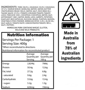 Campers Pantry Moroccan Pork meal nutritional information