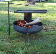 Load image into Gallery viewer, Cookstand used with Fire Dish for cooking at campsite