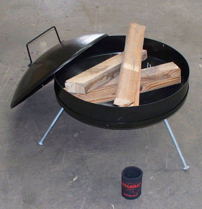 Fire pit reveals timber internally. Lid to the side.