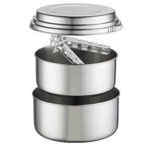 Stainless steel pot set with tongs