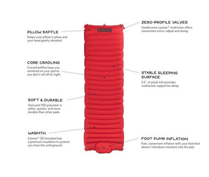 NEMO Cosmo self-inflating sleeping mat with product benefits listed
