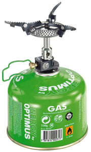 Crux Lite stove attached to gas canister