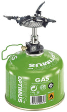 Load image into Gallery viewer, Crux Lite stove attached to gas canister. Gas canister not sold with this set