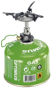 Crux Lite stove attached to gas canister. Gas canister not sold with this set