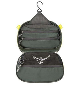Osprey Ultralight Hanging Toiletry Kit (Washbag Cassette) open with internal pockets showing