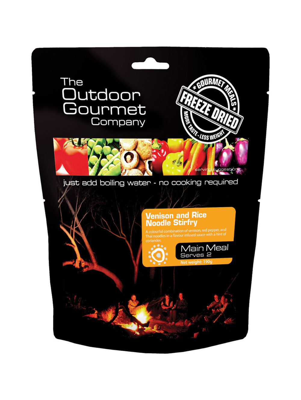 Outdoor Gourmet Venison and Rice Noodle Stir-fry Freeze-dried Meal - Serves 2
