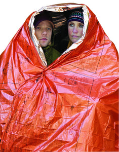 SOL Emergency Survival Blanket wrapped around 2 people
