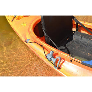 Sea to Summit Bilge Pump attached to side of floating kayak
