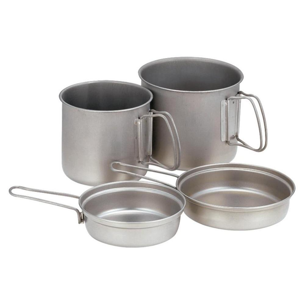 Snow Peak 2 pot sets showing lids can be used as frypans or bowls