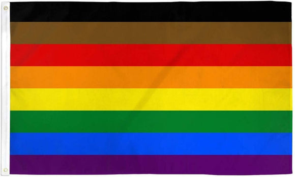 Rainbow Pride Flag (Black & Brown Stripes)