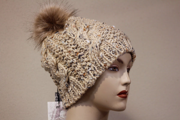 Hat Speckled Wool with fur Bobble