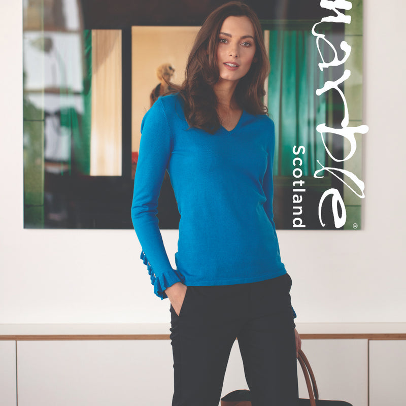 Blue V-Neck Sweater with Sleeve Detail