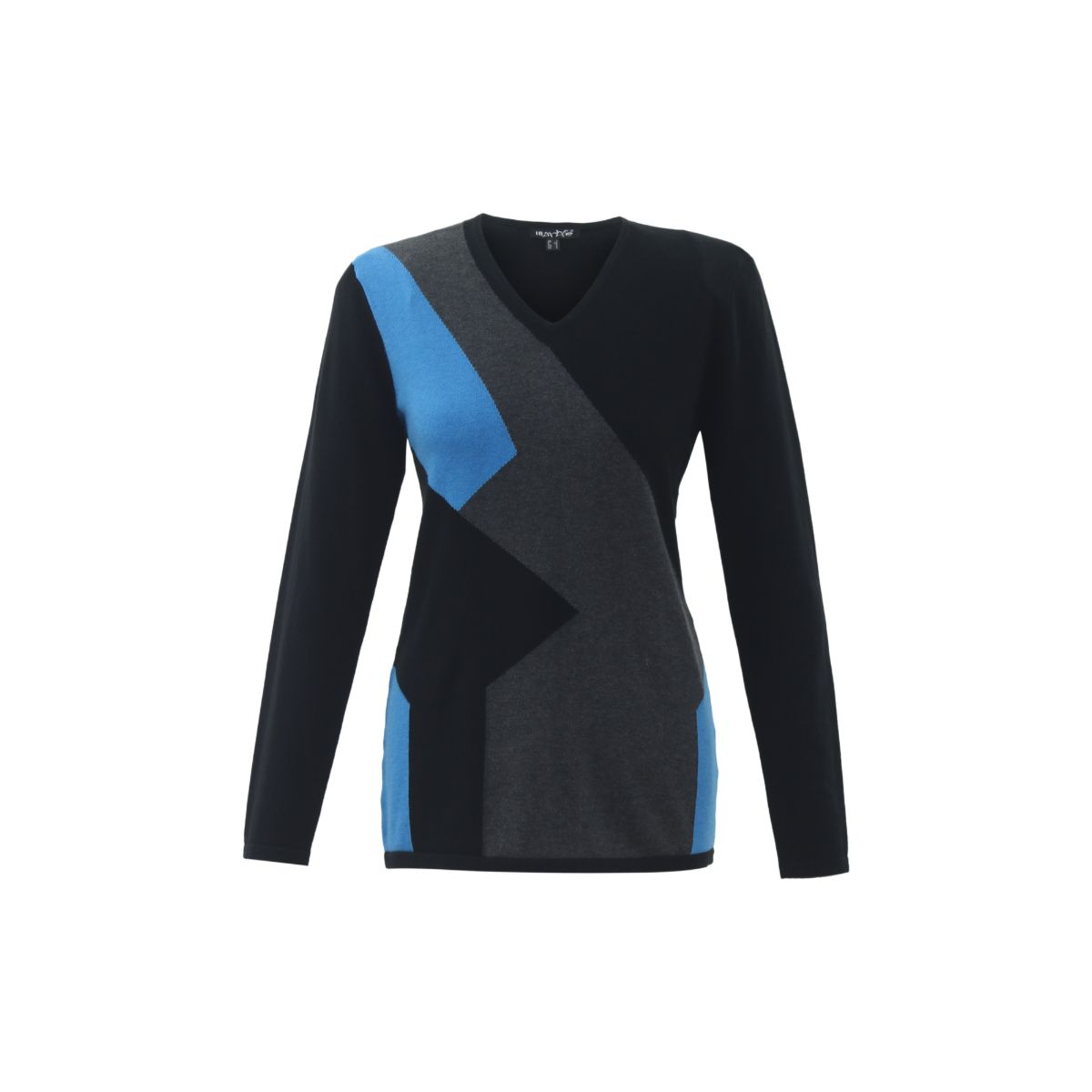 V-Neck Sweater Marble - Blue and Charcoal - 5495