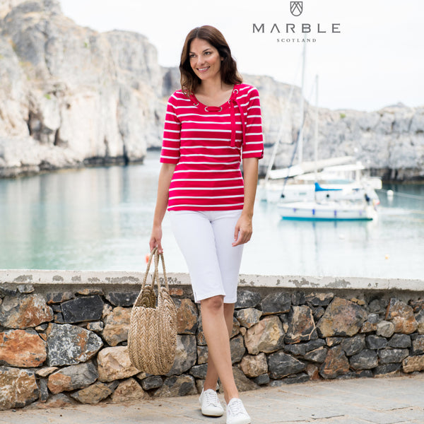 Strip Marble T Shirt Mid Sleeve 5647