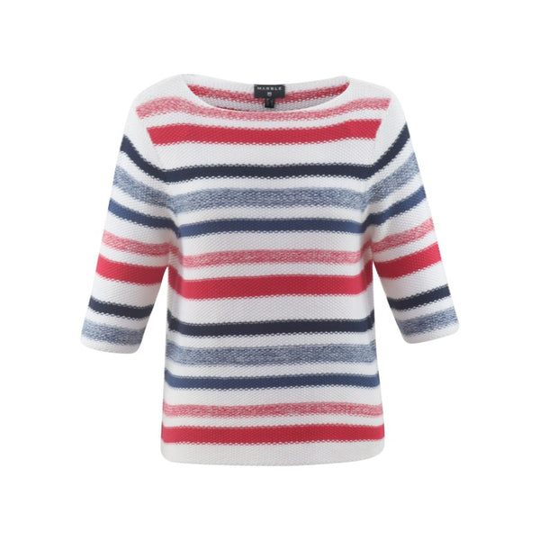 Nautical Look 3/4 Sleeve Summer Sweater