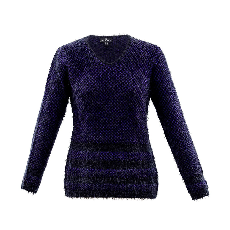 V Neck Sweater Top in Black or Purple