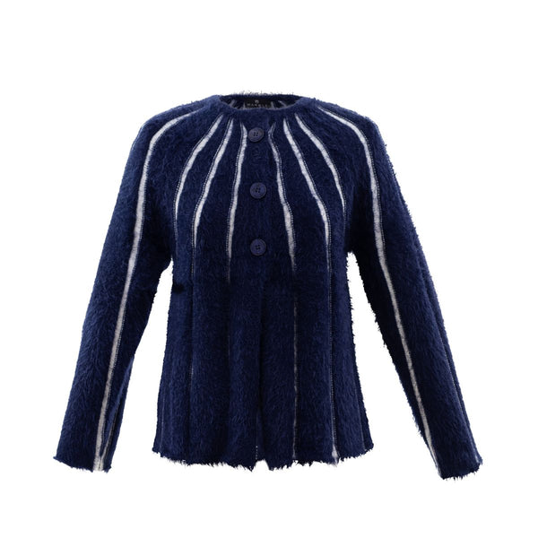 Long Sleeved Navy Eyelash Cardigan