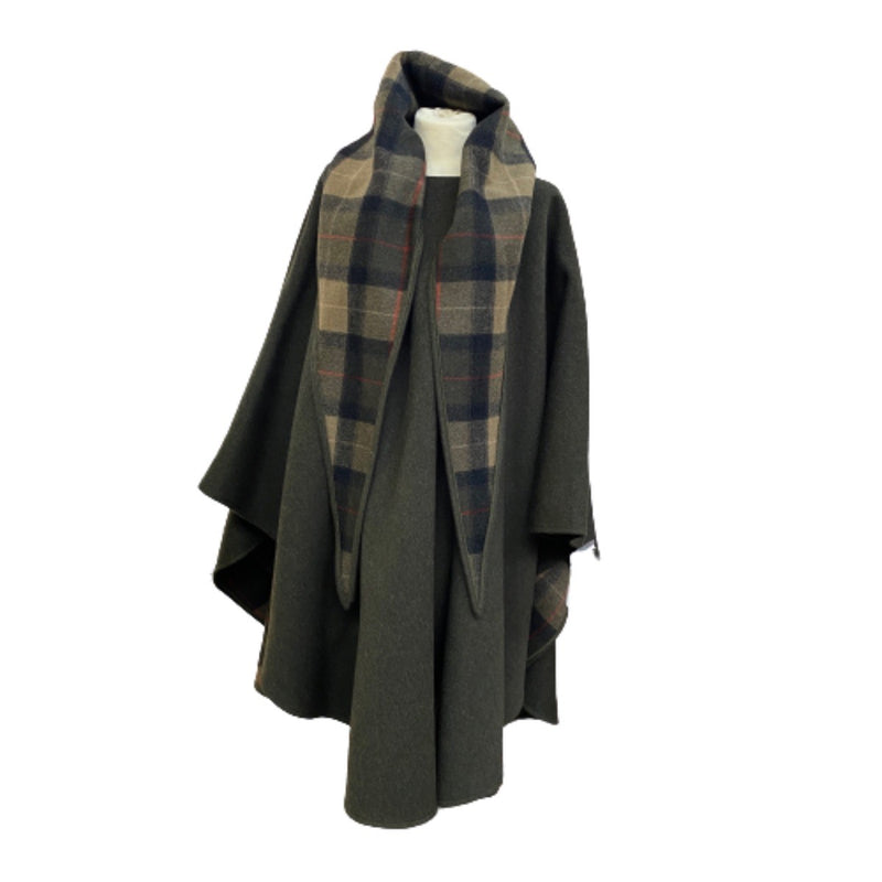 Wool Cape with  Plaid Scarf or Hoodie