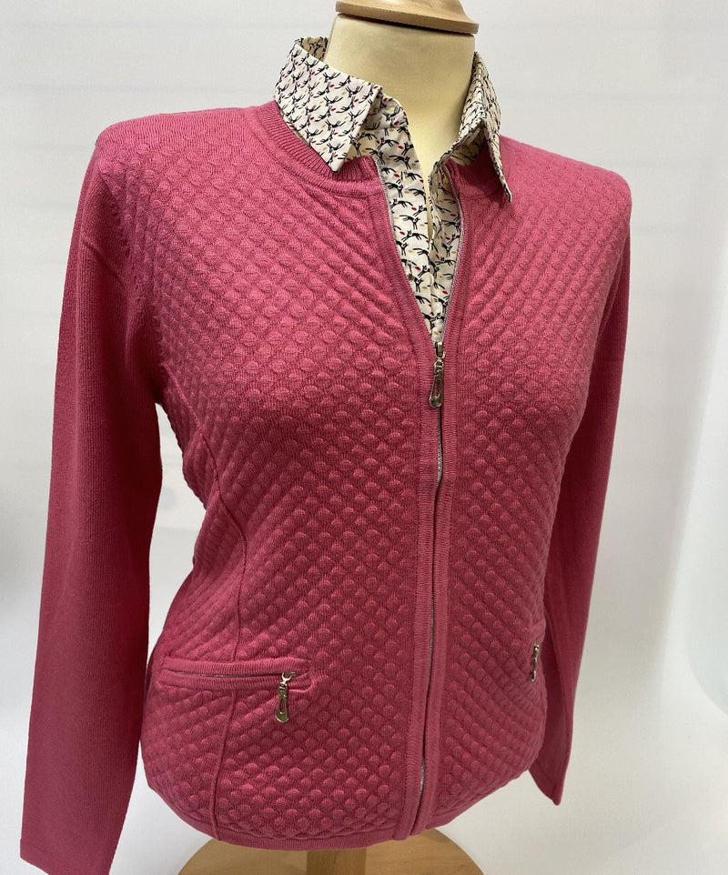Claret Cardigan with Zip Pockets Knit Patterns -Castle Knitwear