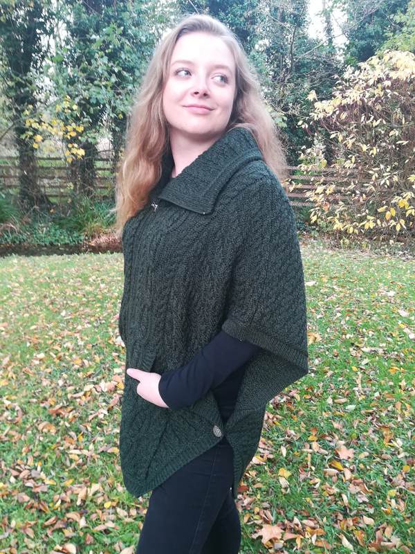 Aran Knit Cape in 100% Merino Wool