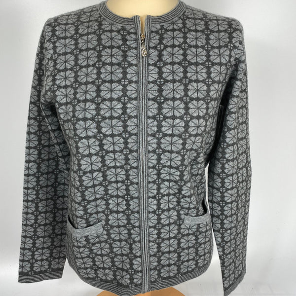 Zipped Jacquard Cardigan