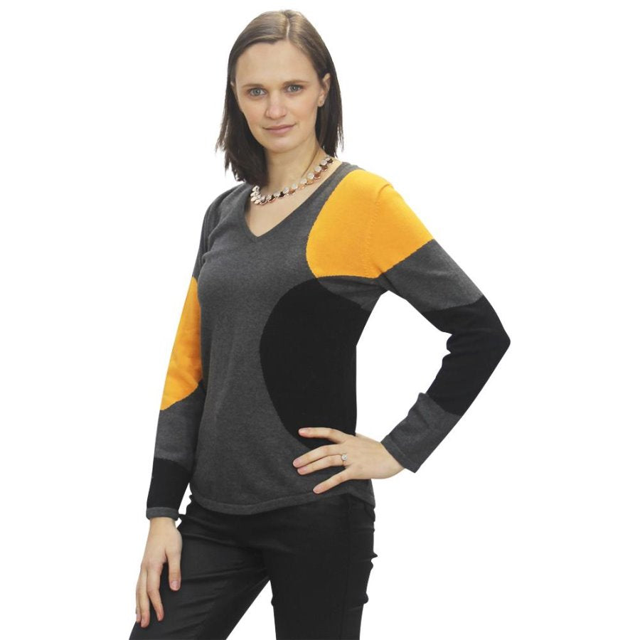 V-Neck Sweater Marble - Grey, Orange, Charcoal - 5501_179