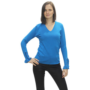 V Neck Sweater with Sleeve Detail - Blue - 5438