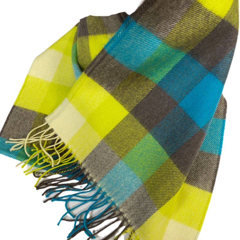 Merino Scarf Yellow Check