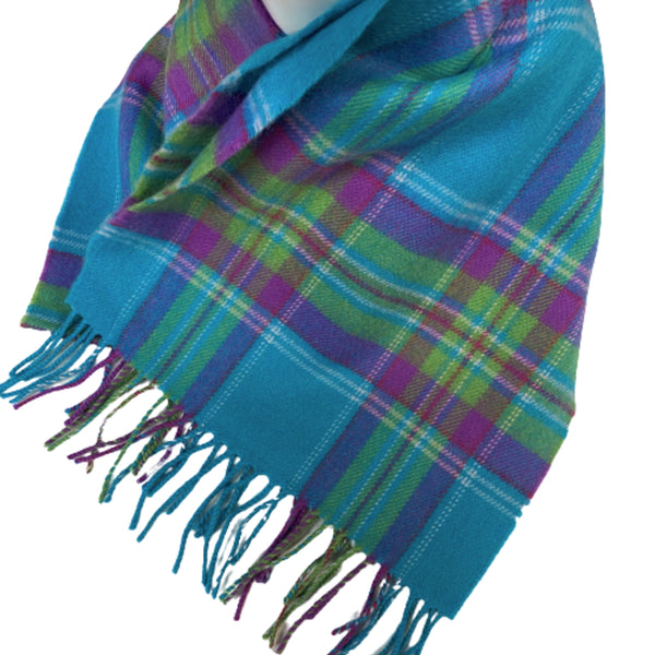 Merino Scarf Teal Blue Check