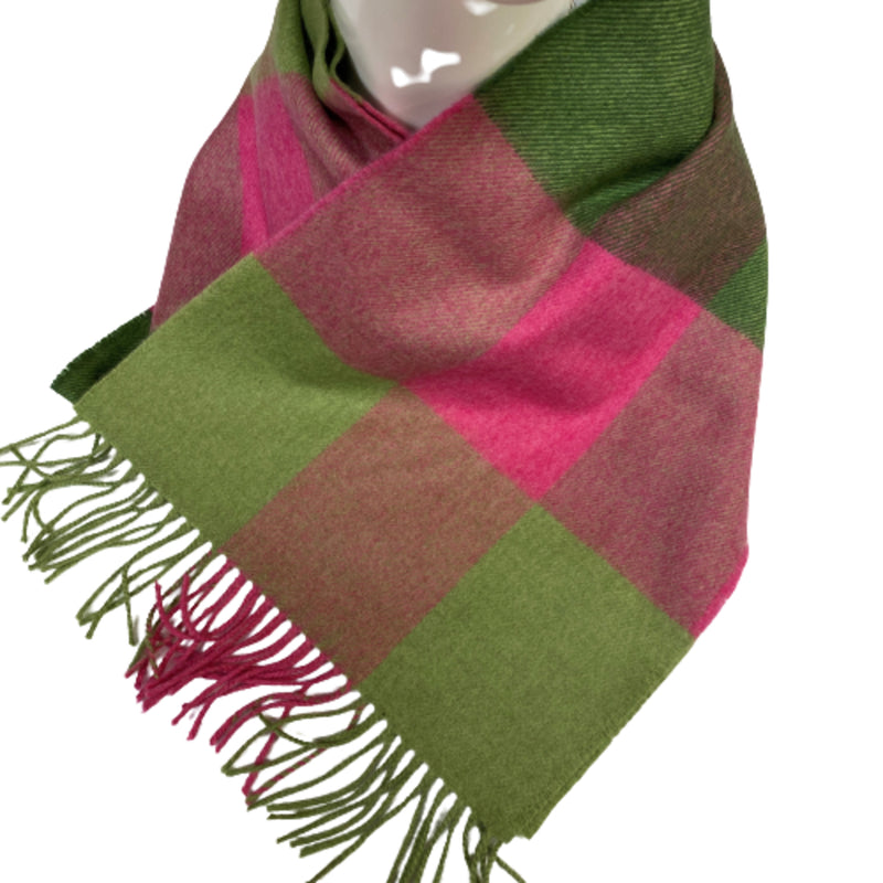 Merino Scarf Green Red Check