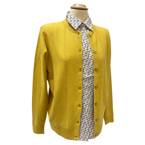 Mustard Cardigan with Knit Patterns -Castle Knitwear