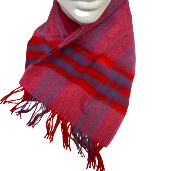 Merino Scarf Red Check
