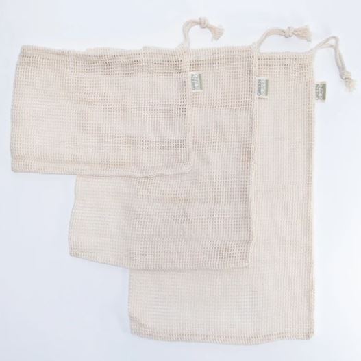 Organic Cotton Mesh Produce Bags - 3-pack