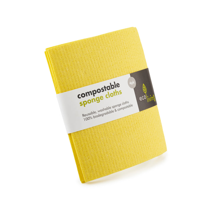 Compostable Sponge Cleaning Cloths - Yellow