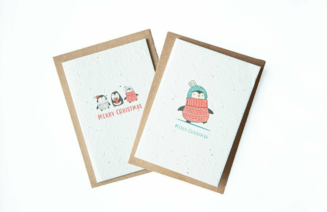 Seed Paper Christmas Cards - Penguins (6-pack)