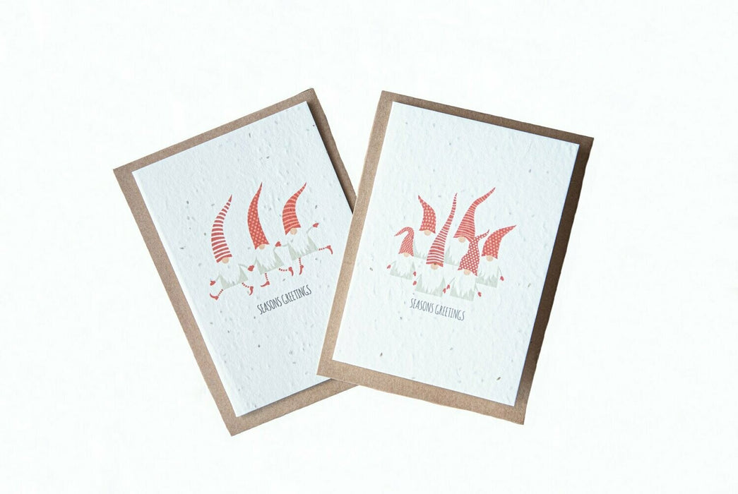 Seed Paper Christmas Cards - Santa Gnomes (6-pack)