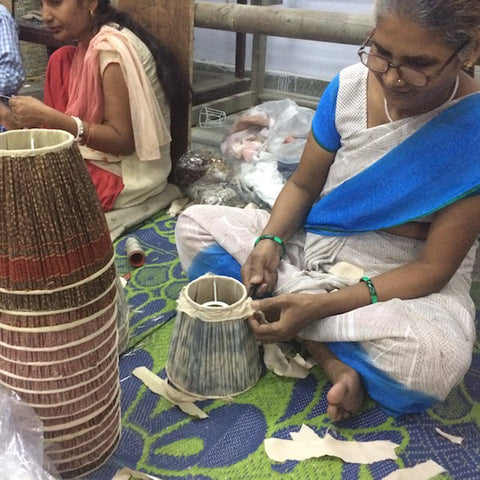 Indian lady making lampshades