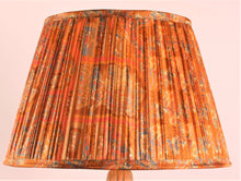 Load image into Gallery viewer, Burnt Orange and Cobalt with Pallu Silk Lampshade