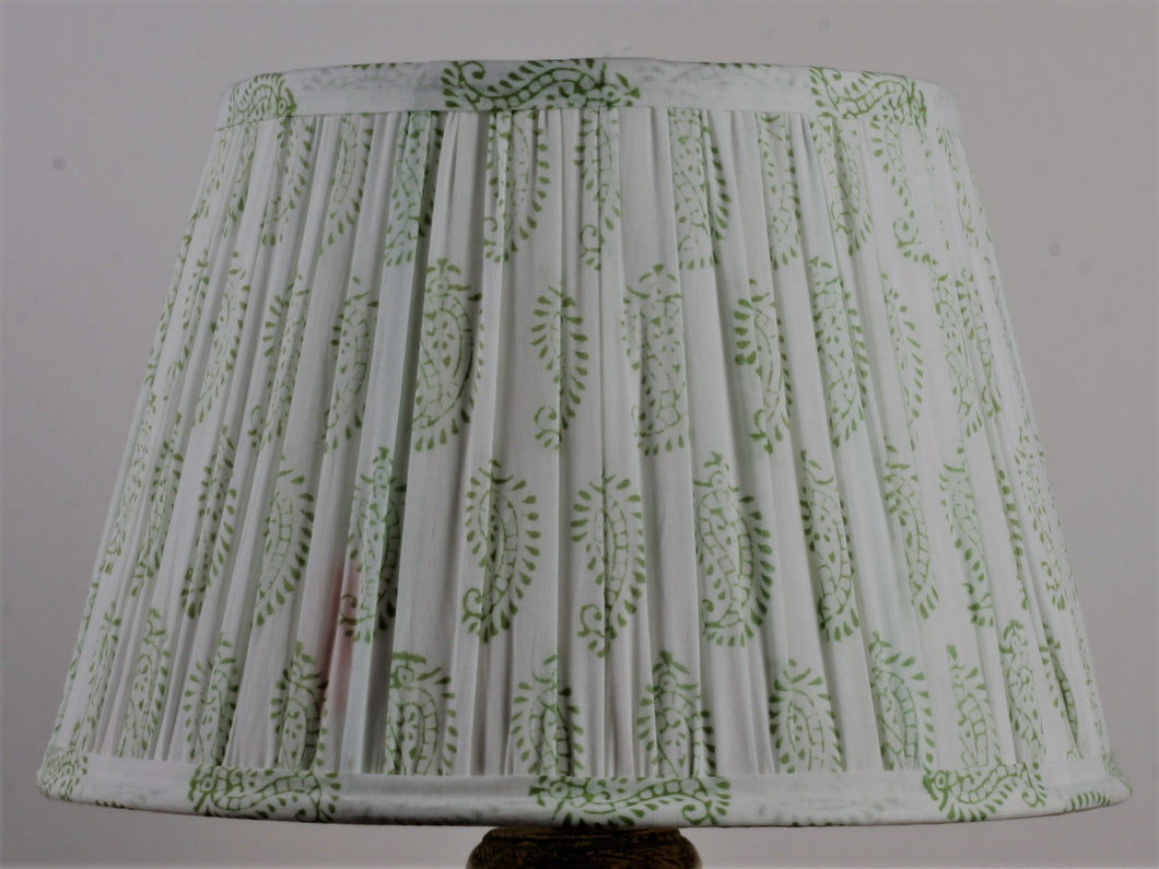 Green and White Cotton Lampshade