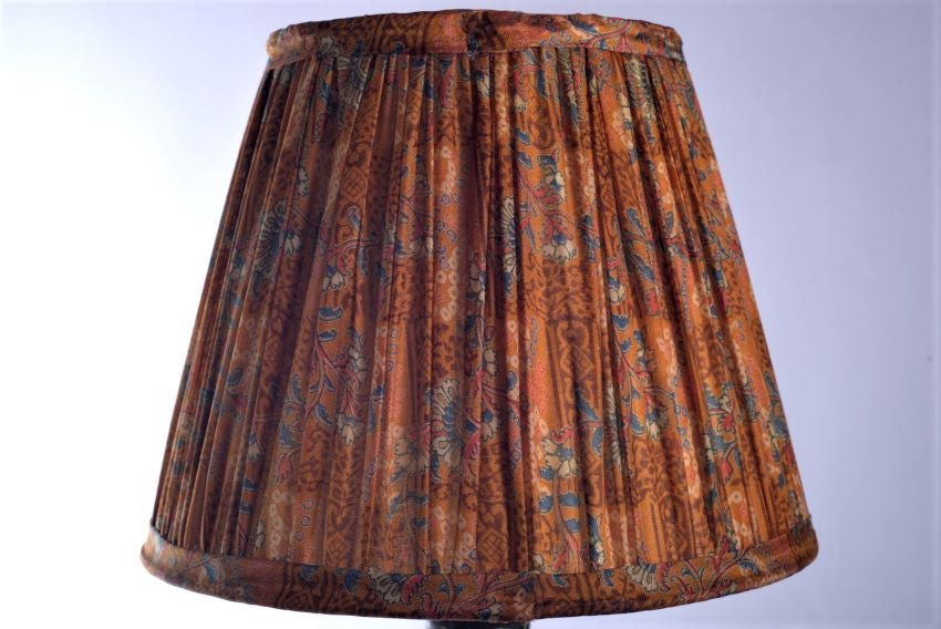 Burnt orange and cobalt silk saree lampshade