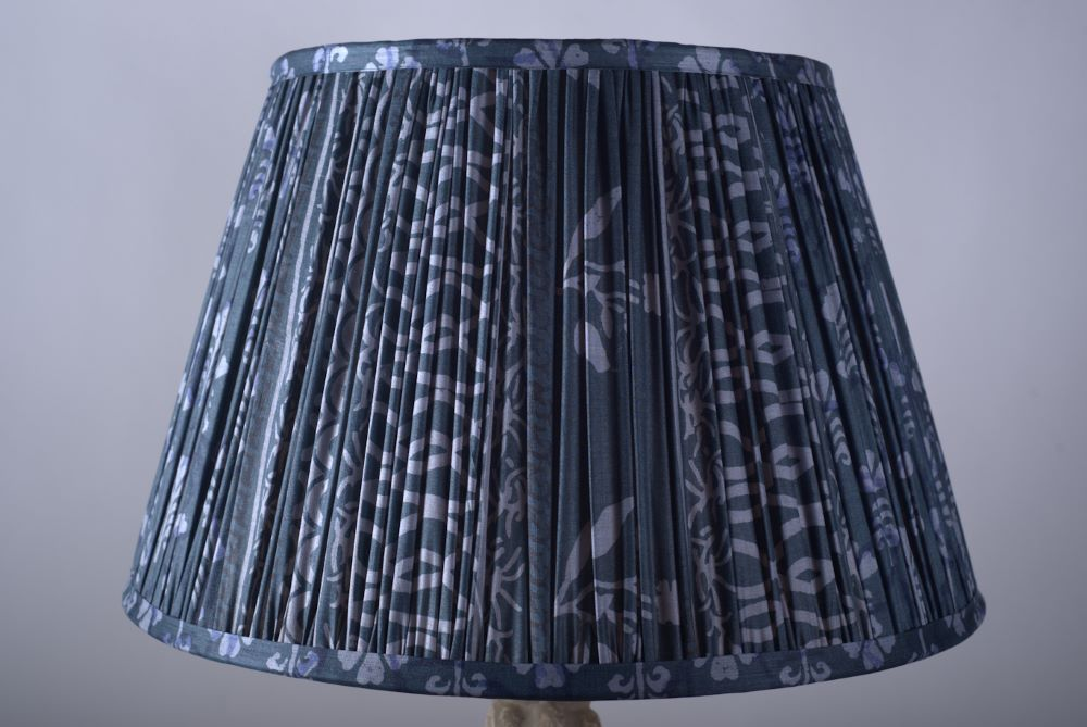 Denim blue Tussar silk lampshade
