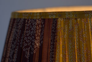 Golden yellow and aubergine Bandani silk lampshade